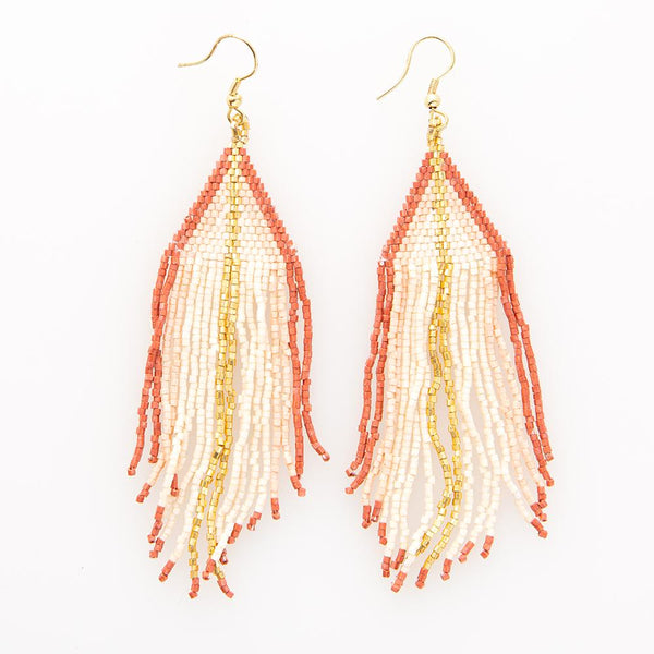 Beaded Fringe Earring - Ivory With Terra Cotta & Gold
