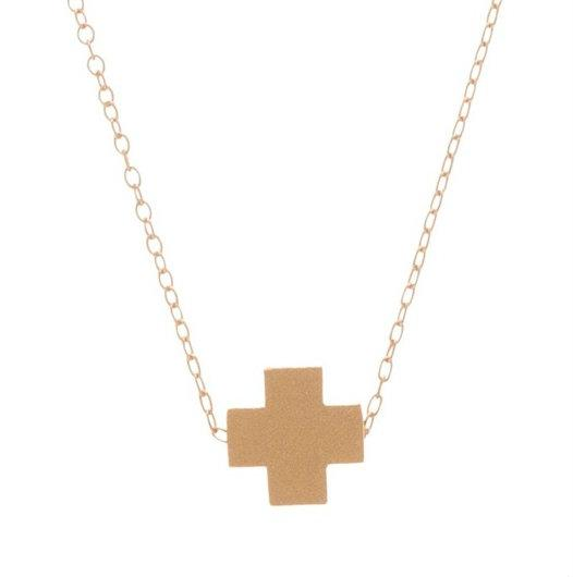 Swiss Style Cross Necklace - Matte Gold