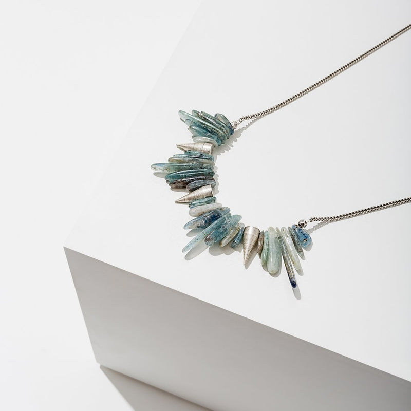Kyanite Spike Necklace - Silver