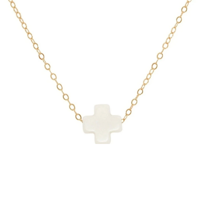 Swiss Style Cross Necklace - Off-White