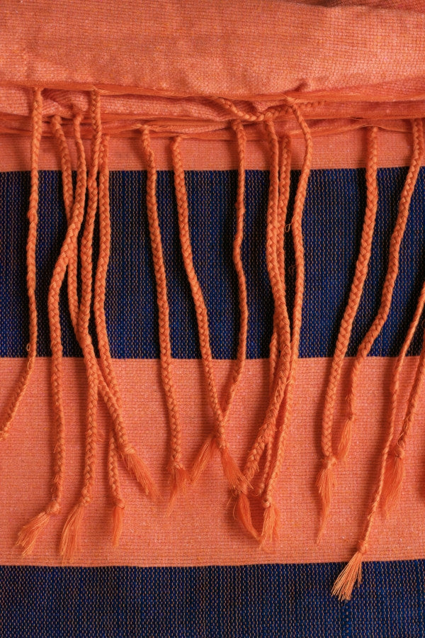 Handwoven Cotton Blanket - Orange & Charcoal