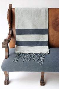 Handwoven Cotton Blanket - Charcoal & Gray