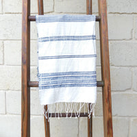 Aidan Hand Towel - Natural with Navy