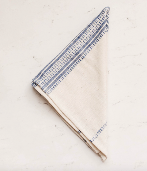 Aidan Cotton Napkin - Natural & Navy