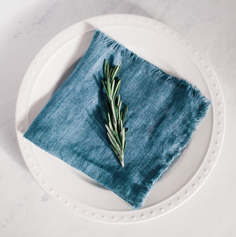 Stonewashed Linen Cocktail Napkin - Denim