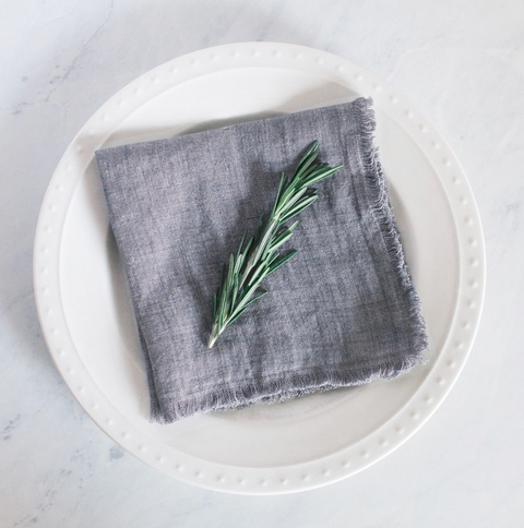 Stonewashed Linen Cocktail Napkin - Gray