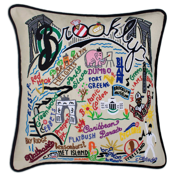 Hand Embroidered Pillow - Brooklyn