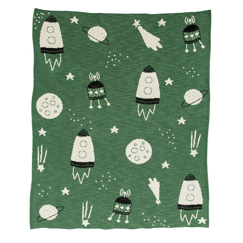 Space Ship Baby Blanket - Green