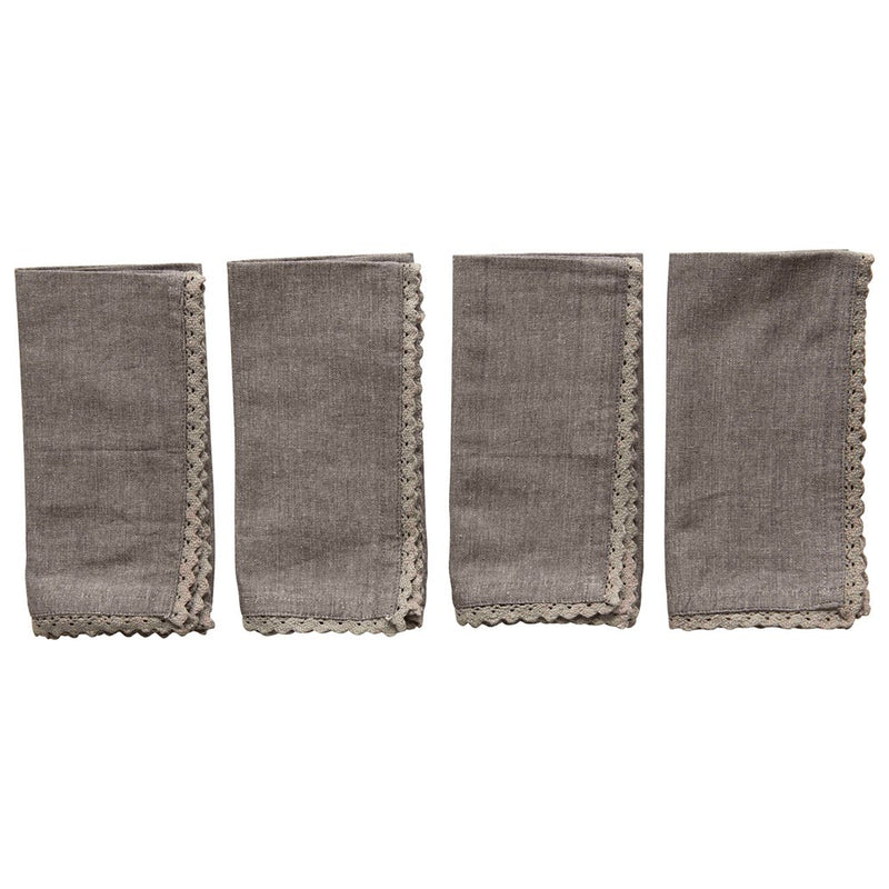 Charcoal Cotton & Lace Trimmed Napkin Set