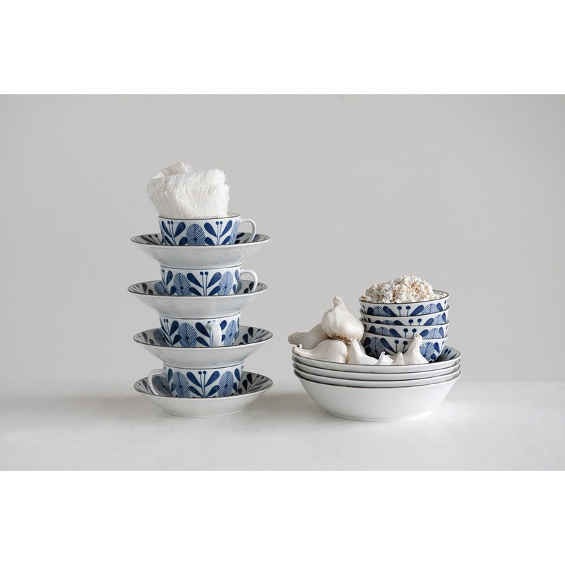 Small Porcelain Bowl - Blue & White Flower Pattern