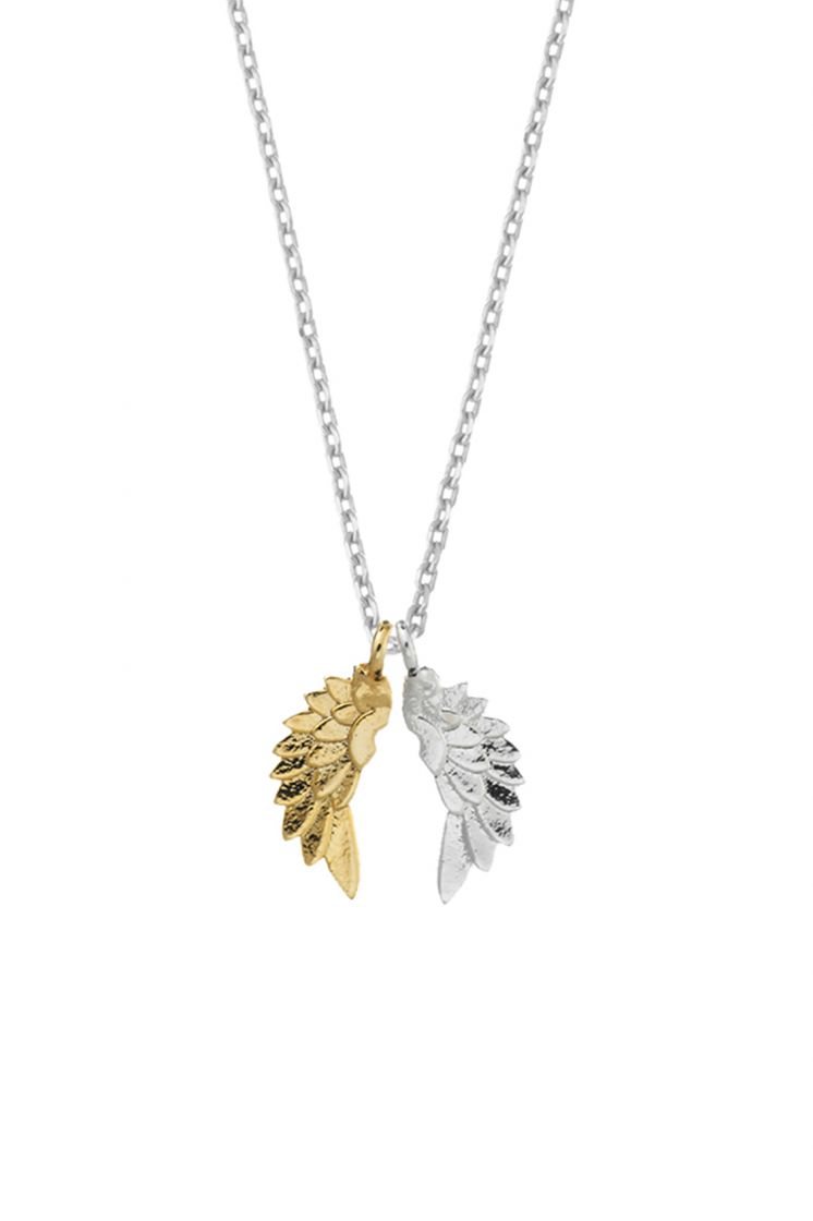 Angel Wing Necklace - Silver & Gold