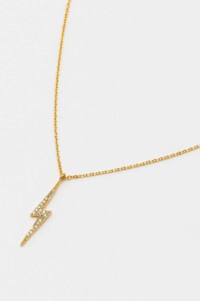 Jeweled Lightning Bolt Necklace
