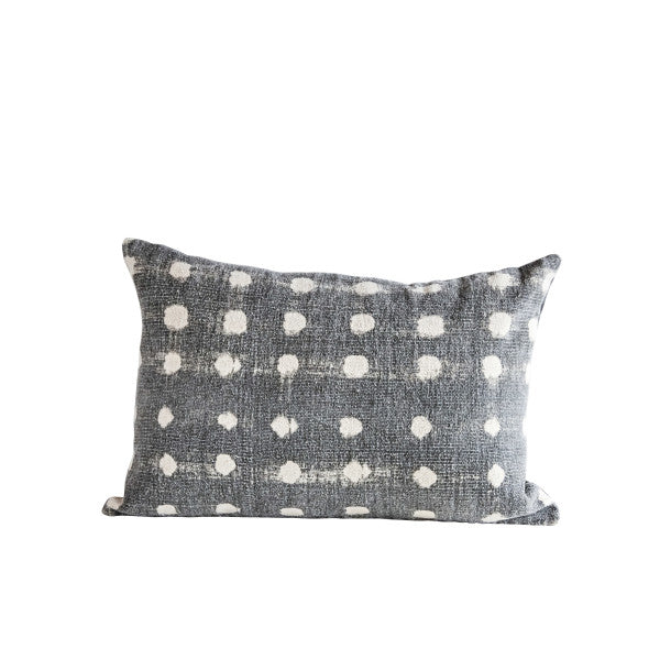 Charcoal Abstract Polka Dot Pillow