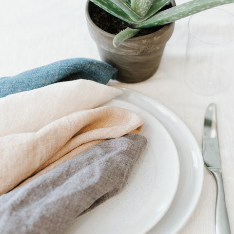 Stonewashed Linen Dinner Napkin - Denim