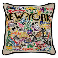 Hand Embroidered Pillow - NYC