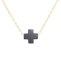 Swiss Style Cross Necklace - Charcoal