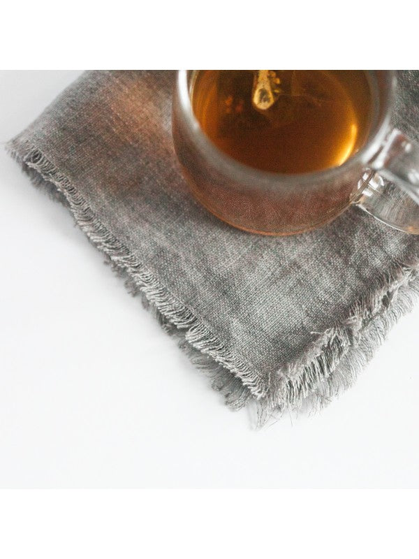 Stonewashed Linen Cocktail Napkin - Oyster