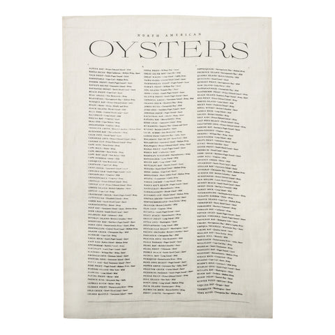 Oyster List Linen Tea Towel