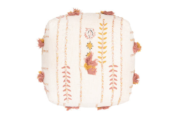 Cream Embroidered Pouf