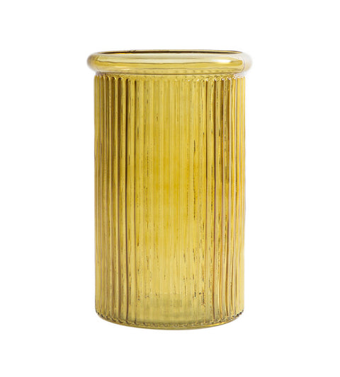 Ribbed Yellow Glass Vase