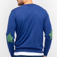Mako Cotton Sweater with Elbow Patches: Indigo