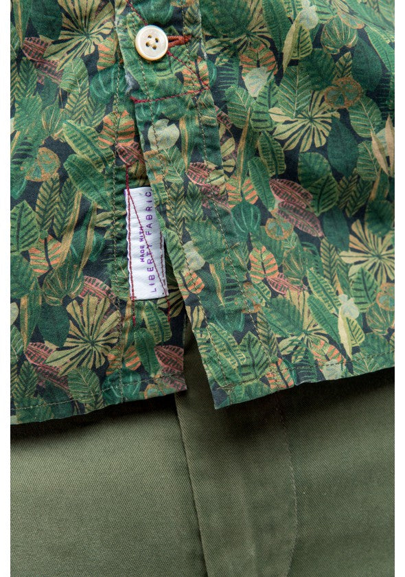Liberty London Floral Leaf Print Shirt: Grass