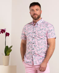 Tim Blossom Canvas Shirt S/S: Pink