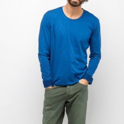 L/S Mottled Cotton T-Shirt: Indigo