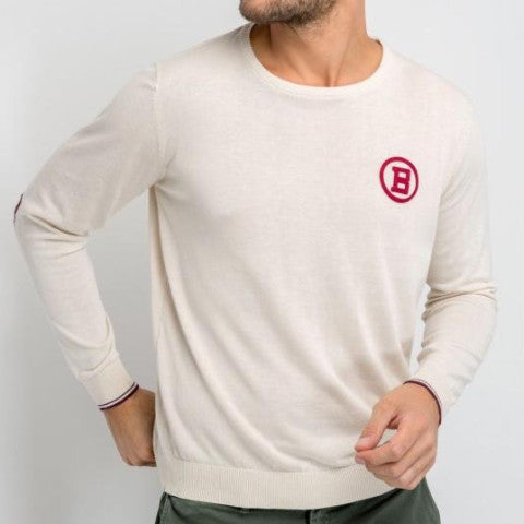 Mako Cotton Sweater With Elbow Patches: Off White