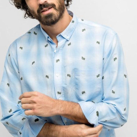 Micro-Checked Shirt With Embroided Cactus: Sky Blue