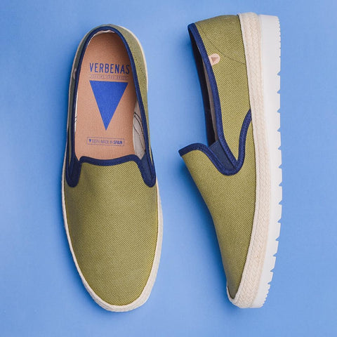Boris Paris Canvas Slip On: Khaki & Green