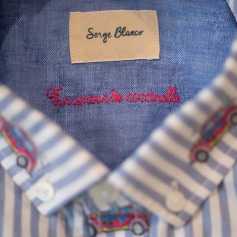 Striped Shirt with Embroideries: Blue Stripe