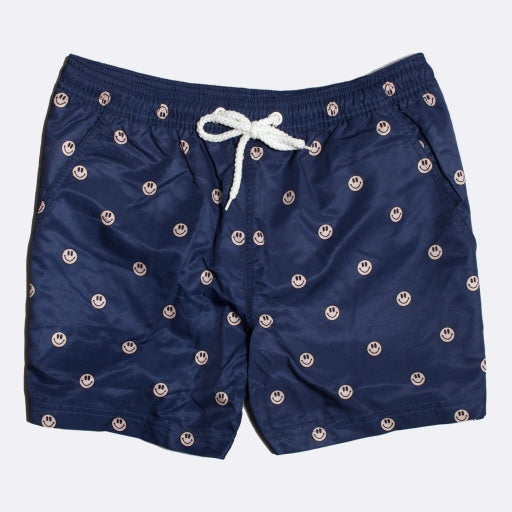 Acid Smiles Printed Swim Trunk: Ensign Blue