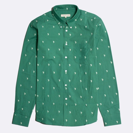 Cactus Print Shirt L/S: Bottle Green