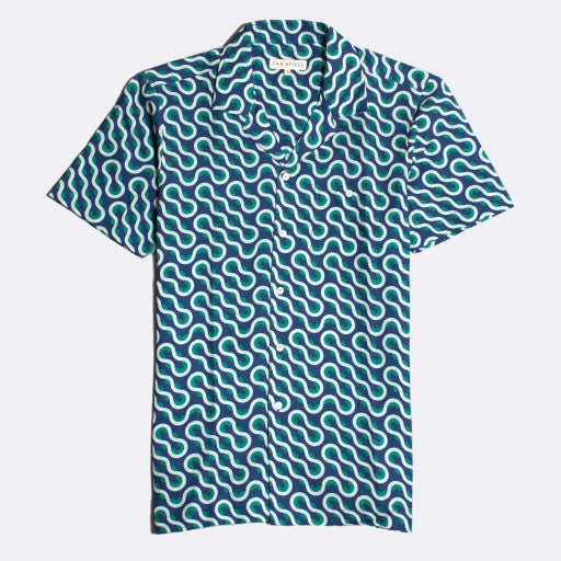 Waves Print Shirt S/S: Monaco Blue