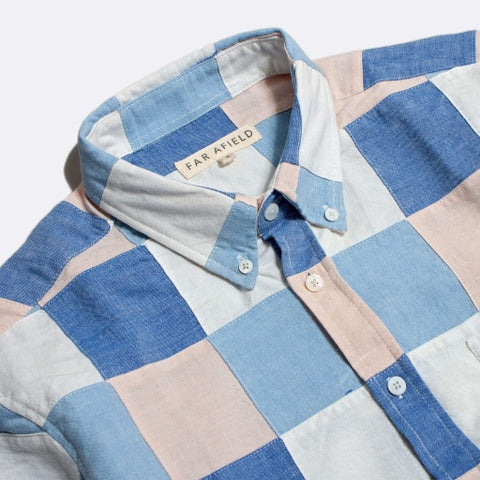 Patchwork Check Shirt S/S: Blue/Pink