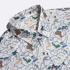 Map Print Shirt S/S: White
