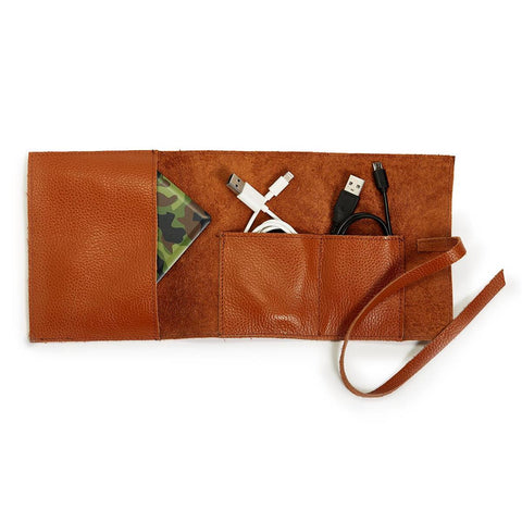"Leather Charger Roll Up: ""Power Trip"" (Brown)"