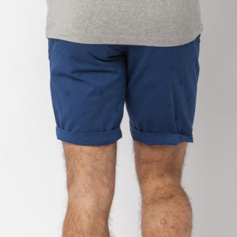 Stretch Gabardine Bermuda Shorts With Embellished Embroideries: Indigo