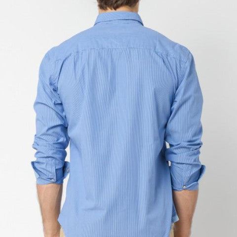 Poplin Striped Shirt with Embellished Placket: Blue