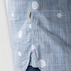 Glen Plaid Polka Dot Shirt: Glacier