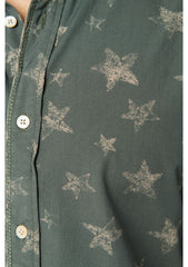 Cotton Shirt with Star Print: Army