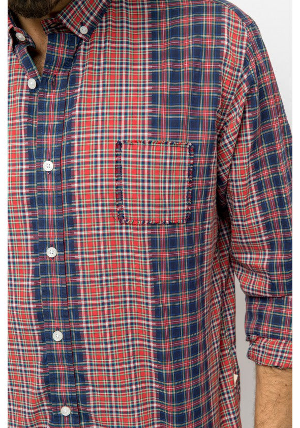 Patchwork Appearance Checked Shirt: Red