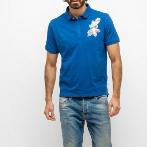 Pique Polo With Embroidered Floral: Indigo