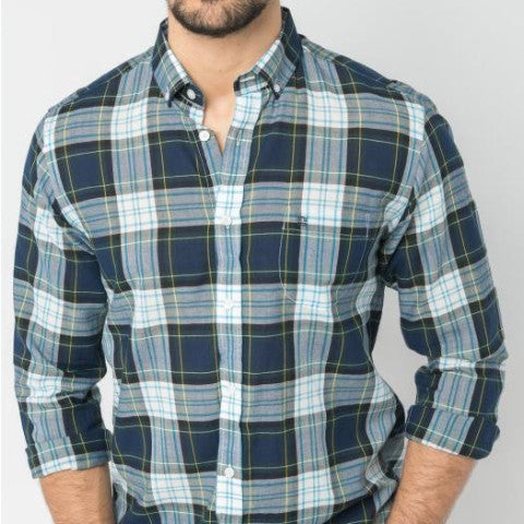 Tartan Plaid Japanese Fabric Shirt: Grass