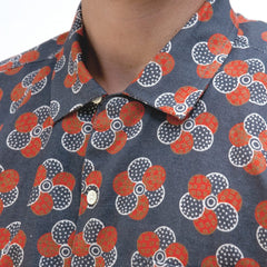 Selleck Patch Floral Print Shirt S/S: Blue