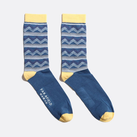 Pacific Stripe Sock: Ensign Blue