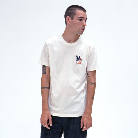 Peace Motif Tee S/S: White Sand