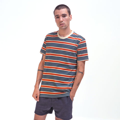 Soy Striped T-Shirt S/S: Arabesque/Blue