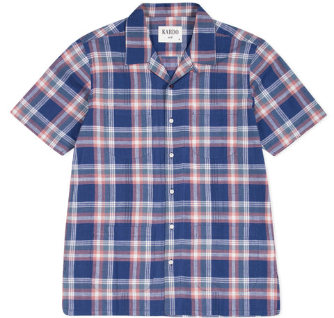 Alfred Check Shirt S/S: Navy